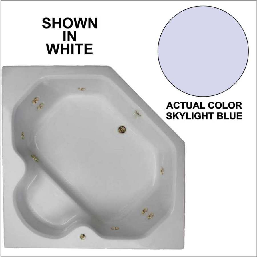 Watertech Whirlpool Baths 60-in Skylight Blue Acrylic Drop-In Whirlpool Tub with Reversible Drain