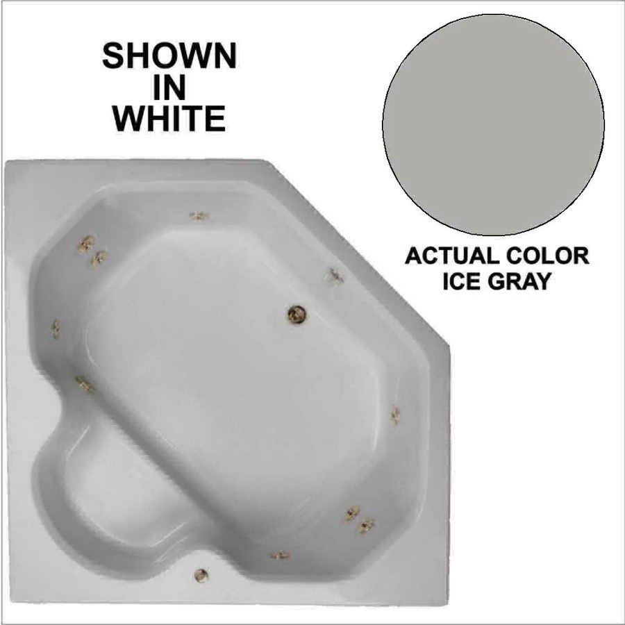 Watertech Whirlpool Baths 2-Person Ice Gray Acrylic Corner Whirlpool Tub (Common: 60-in x 60-in; Actual: 20-in x 60-in x 60-in)