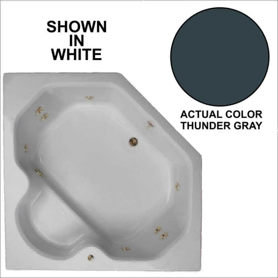 Watertech Whirlpool Baths 60-in Thunder Gray Acrylic Drop-In Whirlpool Tub with Reversible Drain