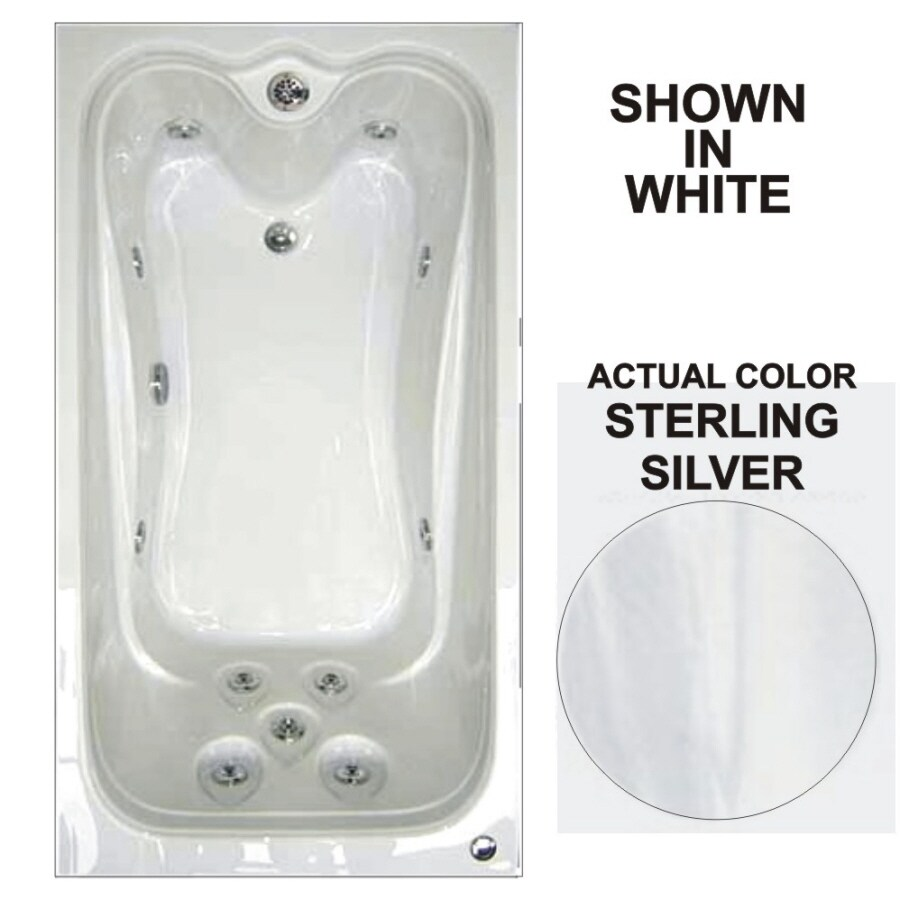 Watertech Whirlpool Baths Elite Sterling Silver Acrylic Rectangular Whirlpool Tub (Common: 42-in x 60-in; Actual: 21.88-in x 41.5-in x 59.75-in)