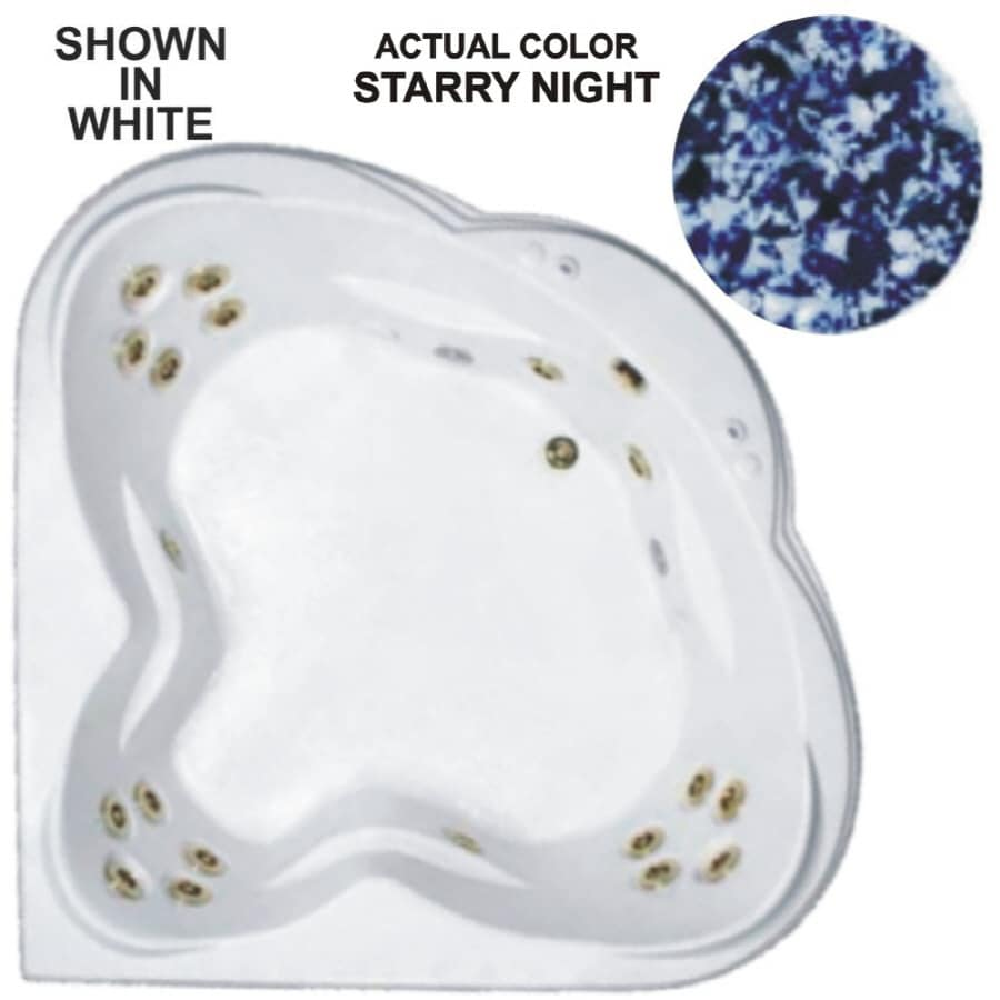 Watertech Whirlpool Baths Warertech 62-in Starry Night Acrylic Drop-In Whirlpool Tub with Reversible Drain