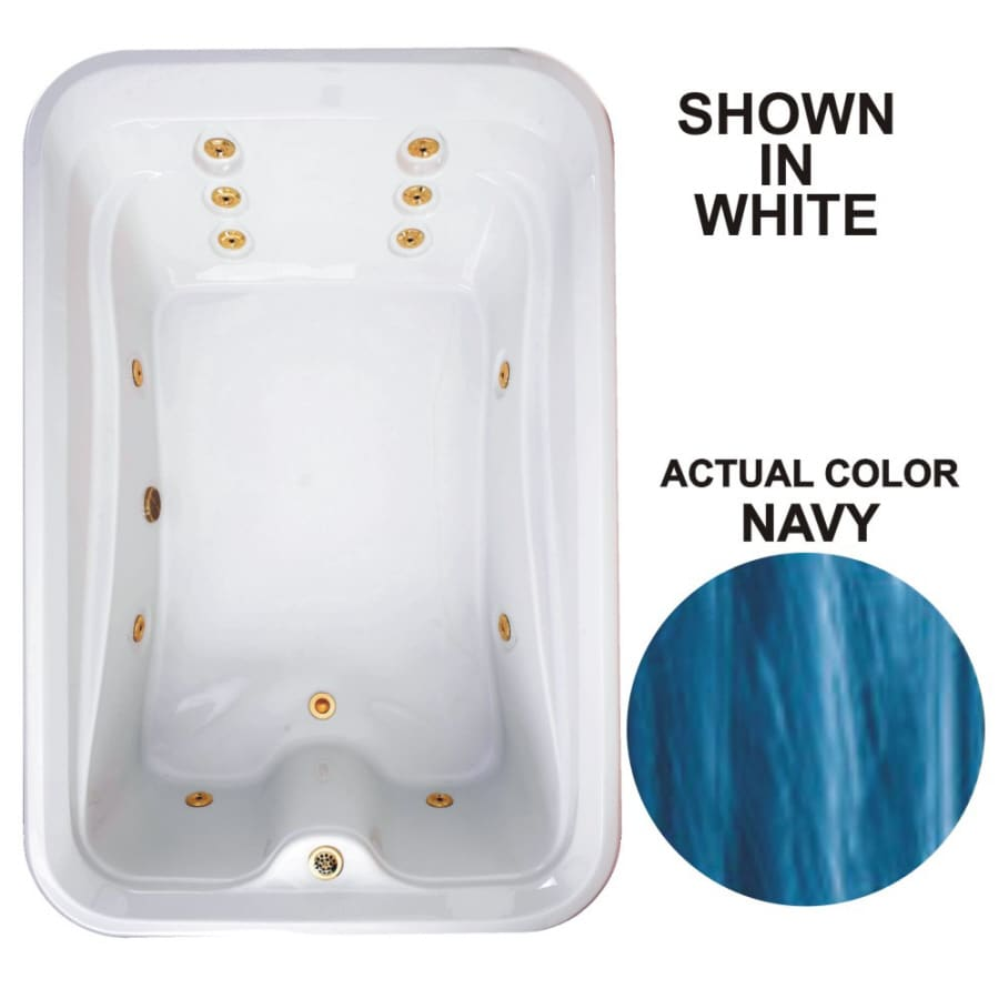 Watertech Whirlpool Baths Elite 72-in Navy Acrylic Drop-In Whirlpool Tub with Reversible Drain