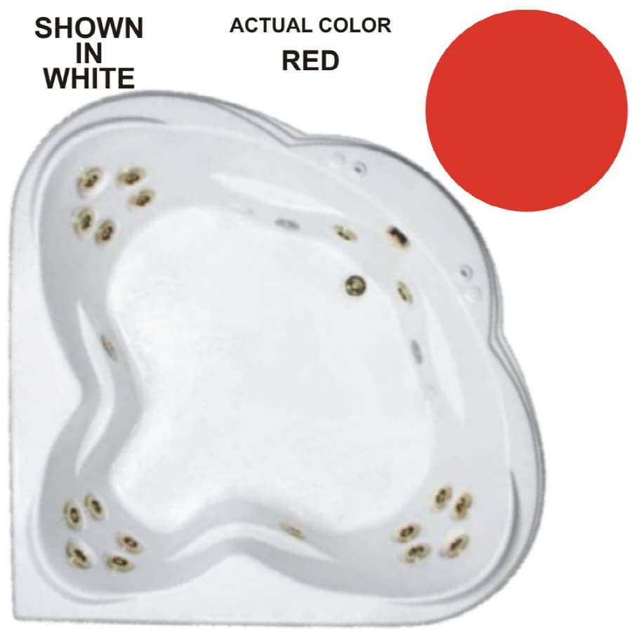 Watertech Whirlpool Baths Warertech 62-in Red Acrylic Drop-In Whirlpool Tub with Reversible Drain