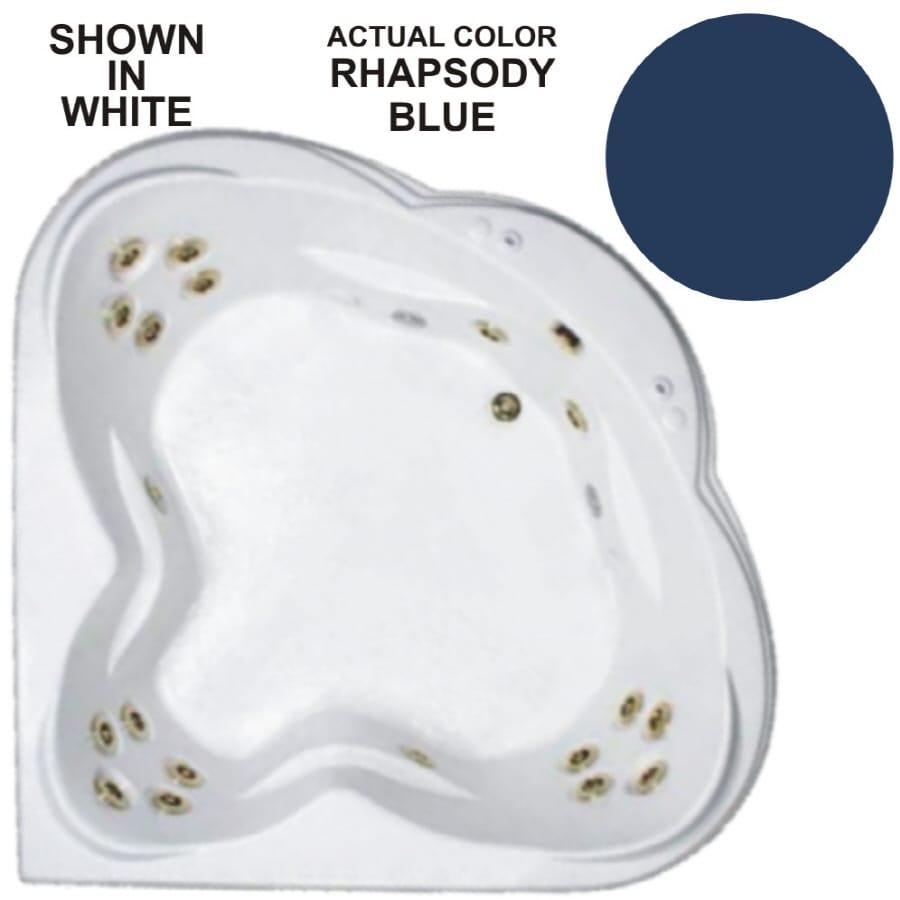 Watertech Whirlpool Baths Warertech 3-Person Rhapsody Blue Acrylic Corner Whirlpool Tub (Common: 62-in x 62-in; Actual: 23-in x 62-in x 62-in)