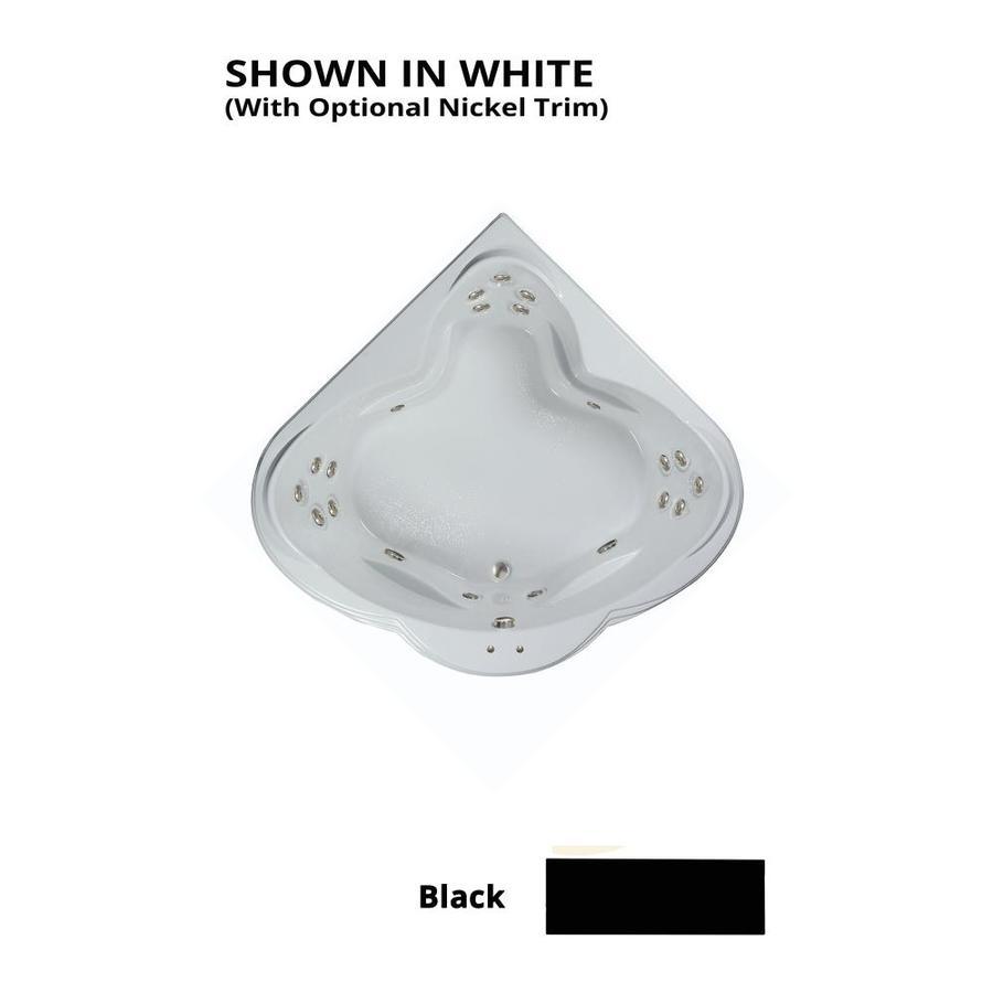 Watertech Whirlpool Baths Warertech 3-Person Black Acrylic Corner Whirlpool Tub (Common: 62-in x 62-in; Actual: 23-in x 62-in x 62-in)
