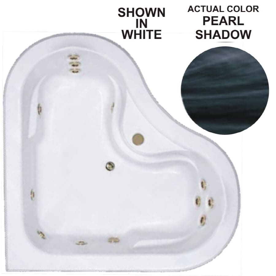 Watertech Whirlpool Baths Warertech 64-in Pearl Shadow Acrylic Drop-In Whirlpool Tub with Center Drain