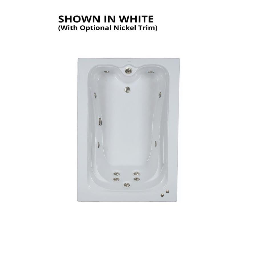 Watertech Whirlpool Baths Elite 59.75-in White Acrylic Drop-In Whirlpool Tub with Reversible Drain