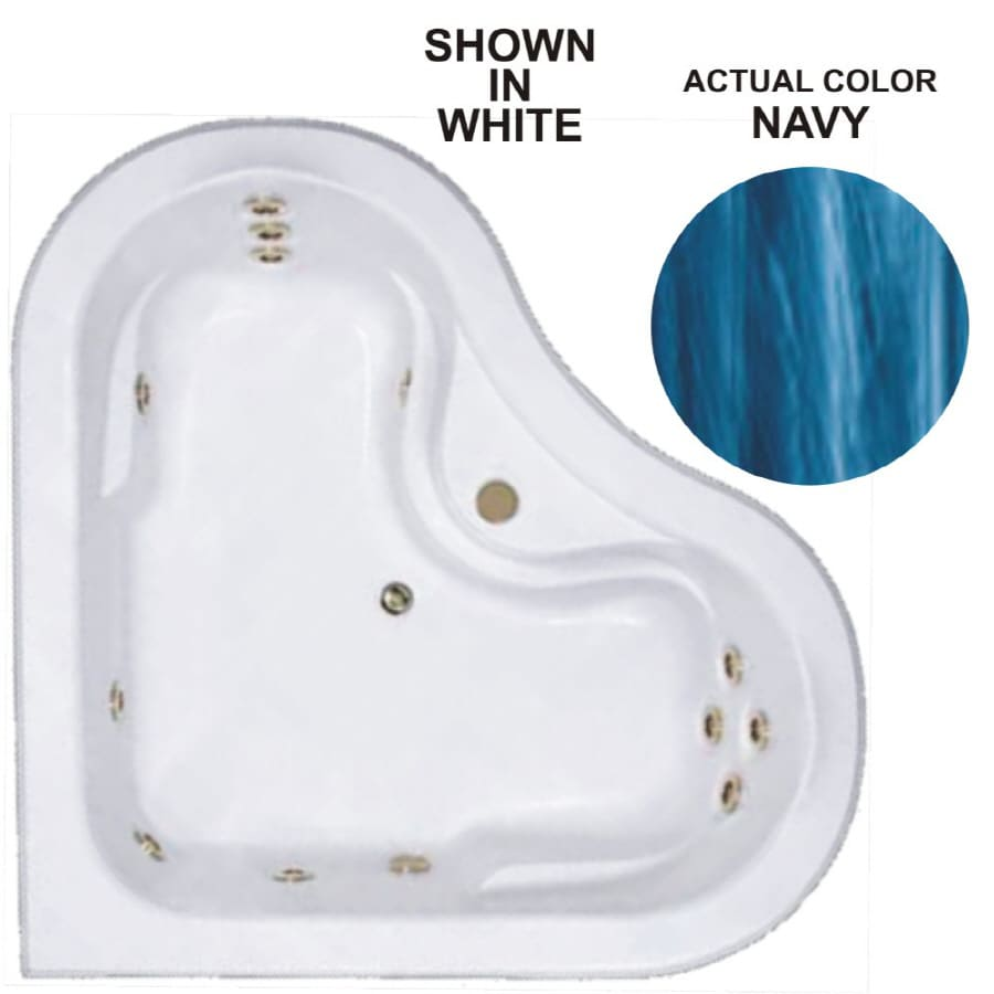 Watertech Whirlpool Baths Warertech 2-Person Navy Acrylic Corner Whirlpool Tub (Common: 64-in x 64-in; Actual: 20.5-in x 64-in x 64-in)