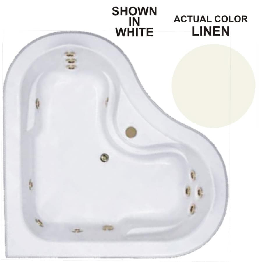 Watertech Whirlpool Baths Warertech 64-in Linen Acrylic Drop-In Whirlpool Tub with Center Drain