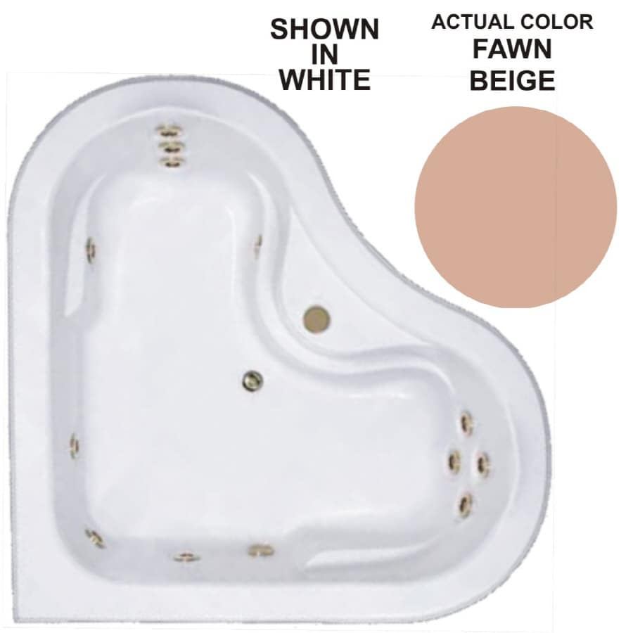 Watertech Whirlpool Baths Warertech 2-Person Fawn Beige Acrylic Corner Whirlpool Tub (Common: 64-in x 64-in; Actual: 20.5-in x 64-in x 64-in)