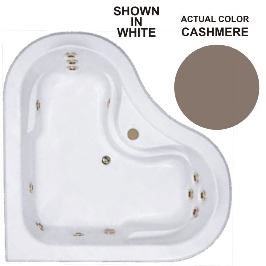 Watertech Whirlpool Baths 2-Person Cashmere Acrylic Corner Whirlpool Tub (Common: 64-in x 64-in; Actual: 20.5-in x 64-in x 64-in)