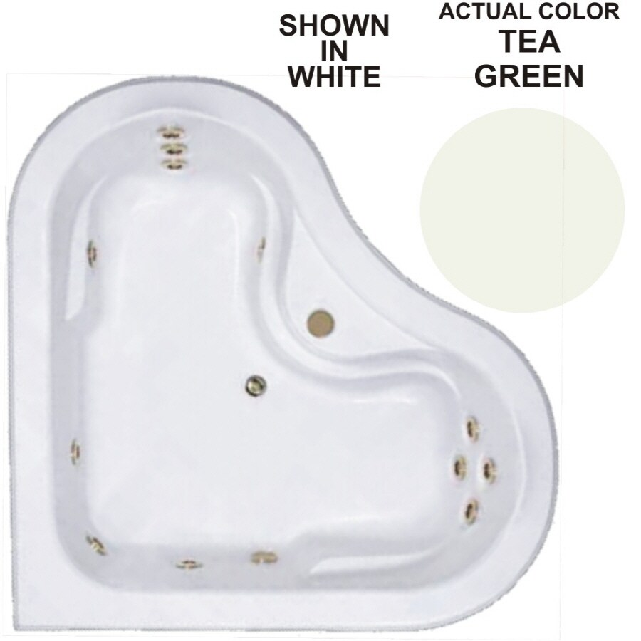 Watertech Whirlpool Baths Warertech 64-in Tea Green Acrylic Drop-In Whirlpool Tub with Center Drain