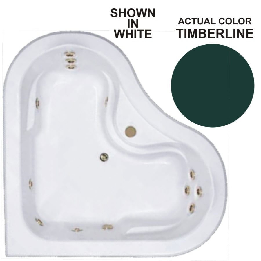 Watertech Whirlpool Baths Warertech 2-Person Timberline Acrylic Corner Whirlpool Tub (Common: 64-in x 64-in; Actual: 20.5-in x 64-in x 64-in)