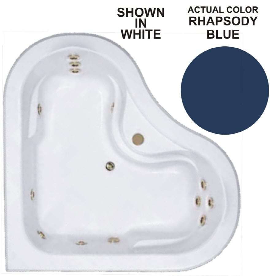 Watertech Whirlpool Baths Warertech 2-Person Rhapsody Blue Acrylic Corner Whirlpool Tub (Common: 64-in x 64-in; Actual: 20.5-in x 64-in x 64-in)