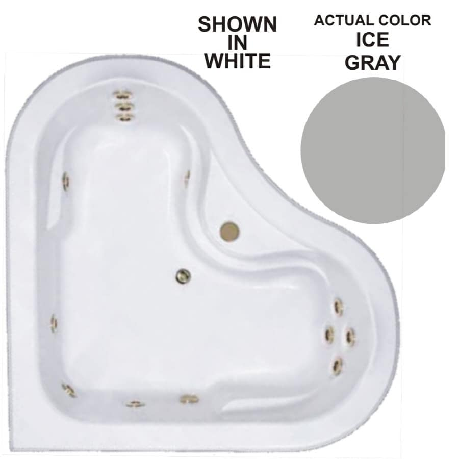 Watertech Whirlpool Baths Warertech 64-in Ice Gray Acrylic Drop-In Whirlpool Tub with Center Drain
