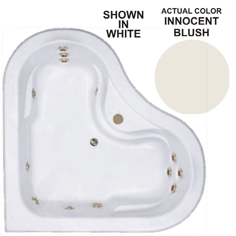 Watertech Whirlpool Baths Warertech 64-in Innocent Blush Acrylic Drop-In Whirlpool Tub with Center Drain