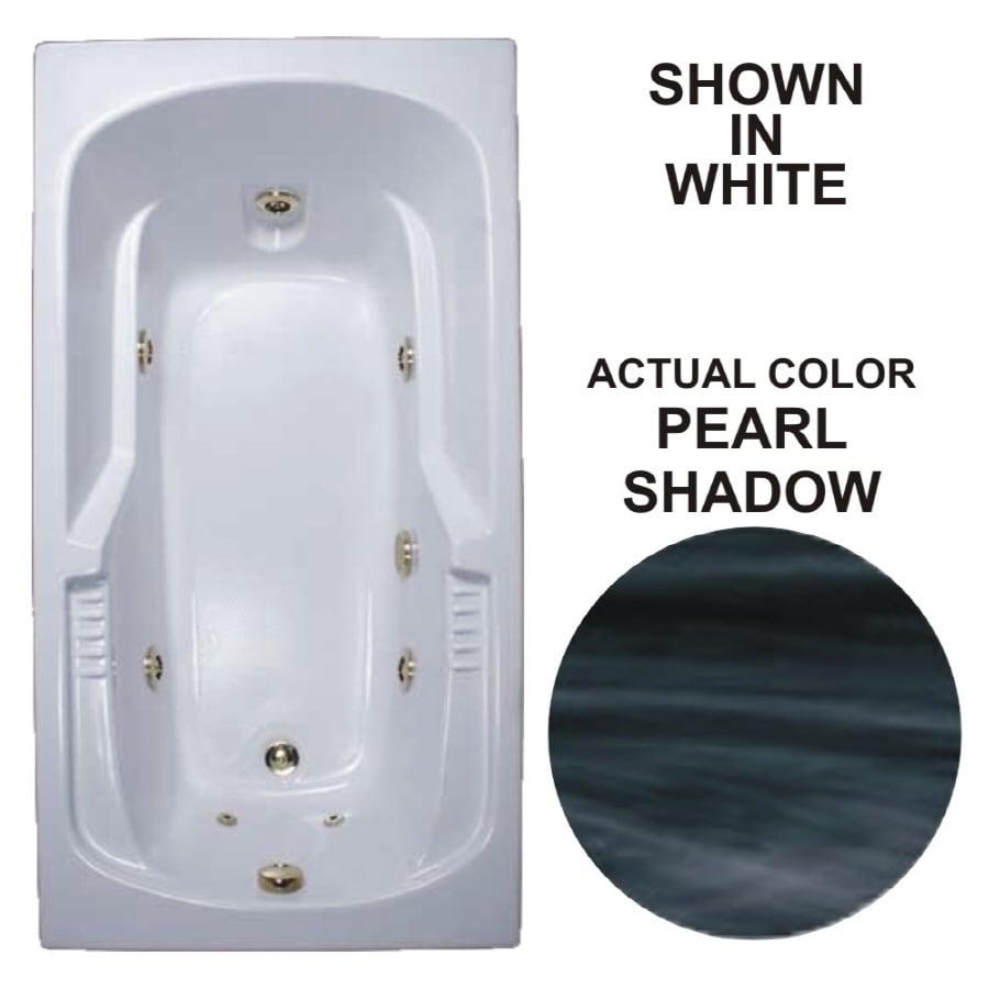 Watertech Whirlpool Baths Warertech Pearl Shadow Acrylic Rectangular Whirlpool Tub (Common: 36-in x 72-in; Actual: 20-in x 36-in x 72-in)