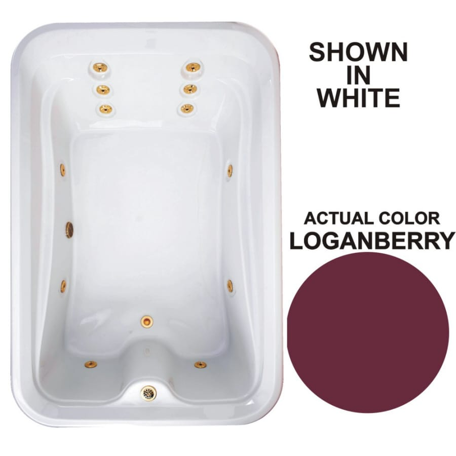 Watertech Whirlpool Baths Elite 2-Person Loganberry Acrylic Rectangular Whirlpool Tub (Common: 48-in x 72-in; Actual: 21.5-in x 48-in x 72-in)