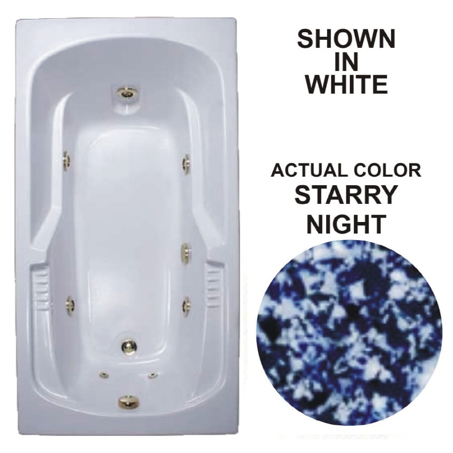 Watertech Whirlpool Baths Warertech 72-in Starry Night Acrylic Drop-In Whirlpool Tub with Reversible Drain