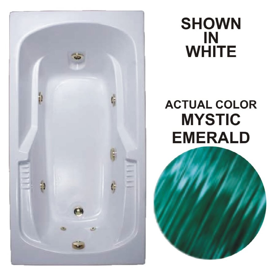 Watertech Whirlpool Baths Warertech Mystic Emerald Acrylic Rectangular Whirlpool Tub (Common: 36-in x 72-in; Actual: 20-in x 36-in x 72-in)
