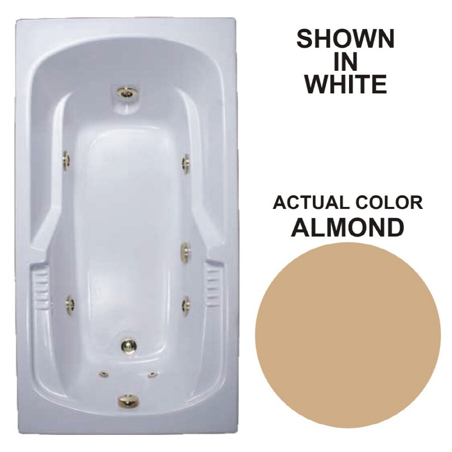 Watertech Whirlpool Baths Warertech 72-in Almond Acrylic Drop-In Whirlpool Tub with Reversible Drain