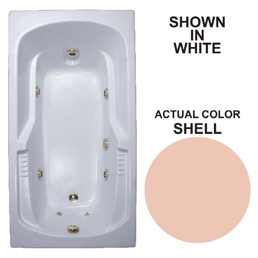 Watertech Whirlpool Baths Warertech 72-in Shell Acrylic Drop-In Whirlpool Tub with Reversible Drain