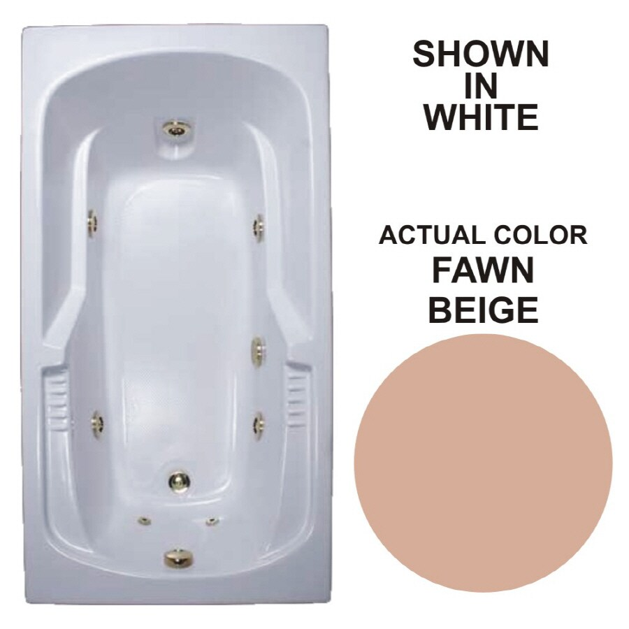 Watertech Whirlpool Baths Warertech 72-in Fawn Beige Acrylic Drop-In Whirlpool Tub with Reversible Drain