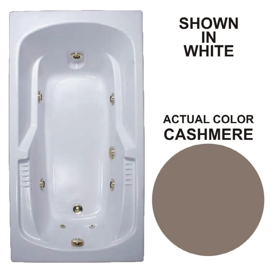 Watertech Whirlpool Baths 72-in Cashmere Acrylic Drop-In Whirlpool Tub with Reversible Drain