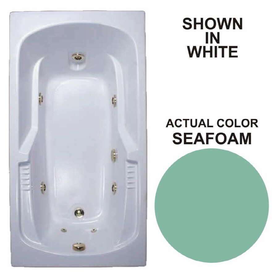 Watertech Whirlpool Baths Warertech 72-in Seafoam Acrylic Drop-In Whirlpool Tub with Reversible Drain