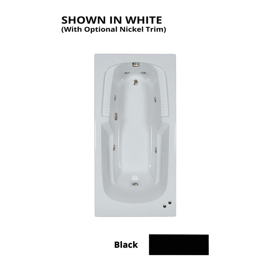 Watertech Whirlpool Baths Warertech 72-in Black Acrylic Drop-In Whirlpool Tub with Reversible Drain