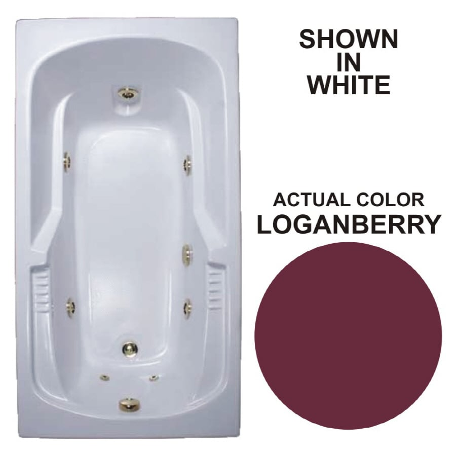 Watertech Whirlpool Baths Warertech 72-in Loganberry Acrylic Drop-In Whirlpool Tub with Reversible Drain