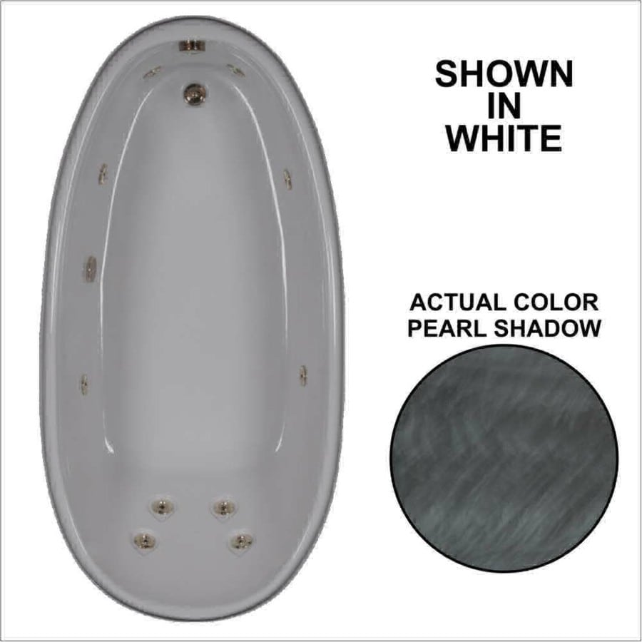 Watertech Whirlpool Baths Designer Pearl Shadow Acrylic Oval Whirlpool Tub (Common: 36-in x 72-in; Actual: 22-in x 36-in x 72-in)