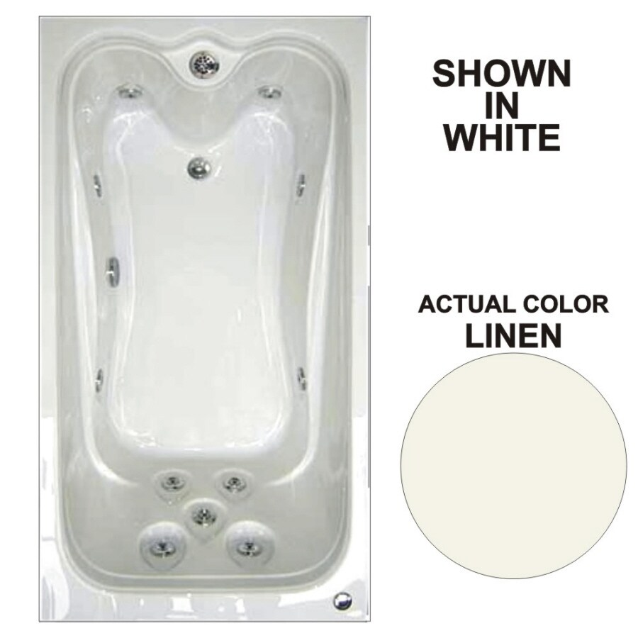 Watertech Whirlpool Baths Elite 59.75-in Linen Acrylic Drop-In Whirlpool Tub with Reversible Drain