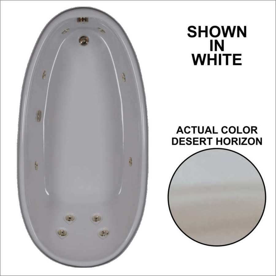 Watertech Whirlpool Baths Designer 72-in Desert Horizon Acrylic Drop-In Whirlpool Tub with Reversible Drain