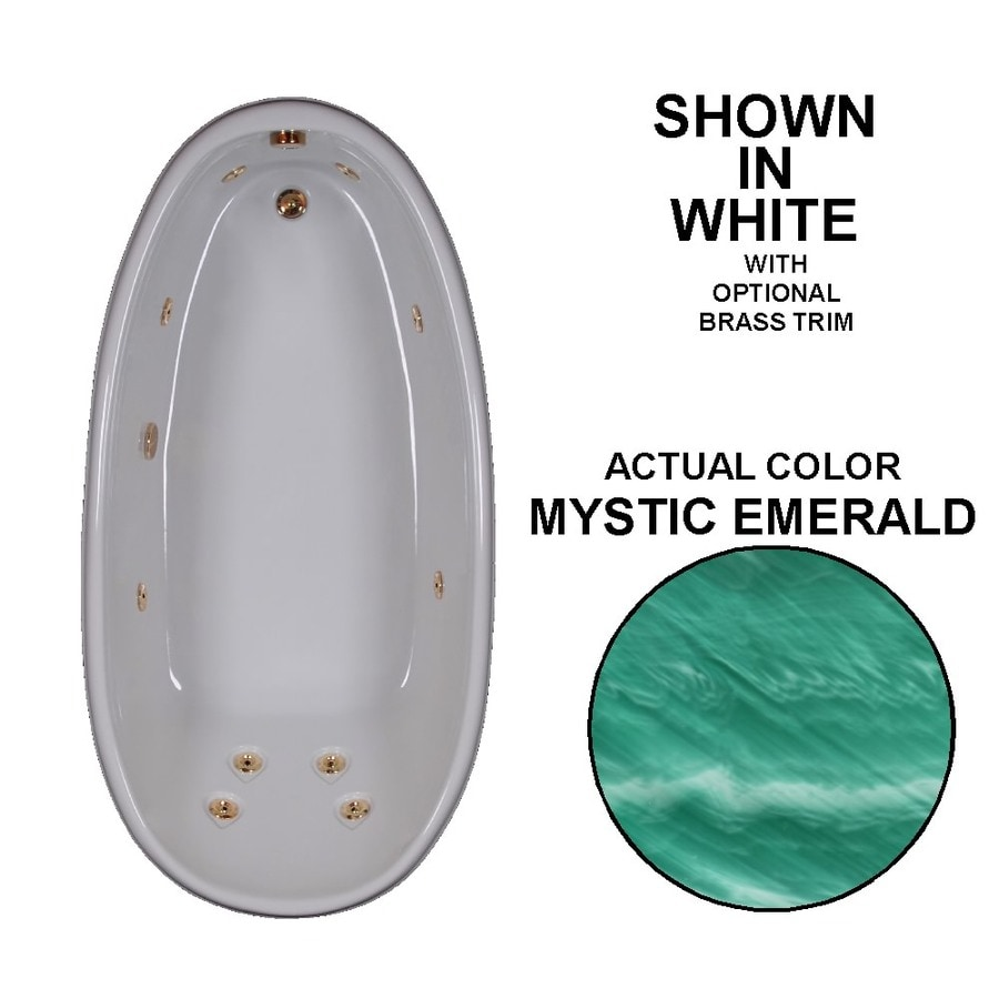 Watertech Whirlpool Baths Designer 72-in Mystic Emerald Acrylic Drop-In Whirlpool Tub with Reversible Drain
