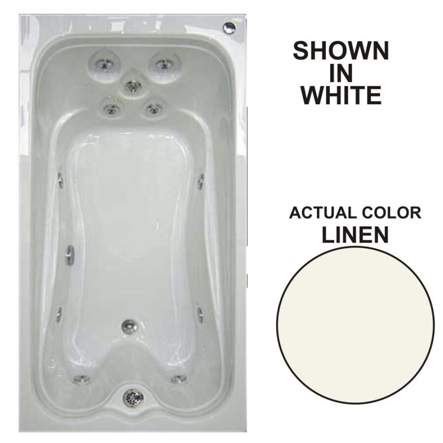 Watertech Whirlpool Baths Warertech 72-in Linen Acrylic Drop-In Whirlpool Tub with Reversible Drain