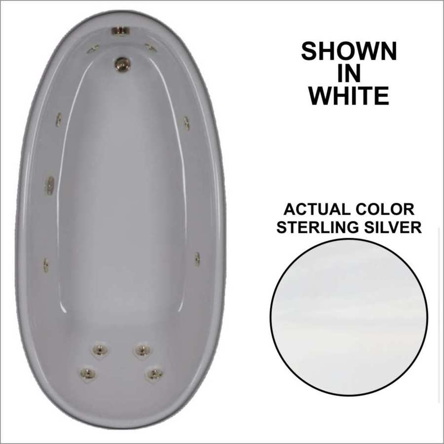 Watertech Whirlpool Baths Designer Sterling Silver Acrylic Oval Whirlpool Tub (Common: 36-in x 72-in; Actual: 22-in x 36-in x 72-in)