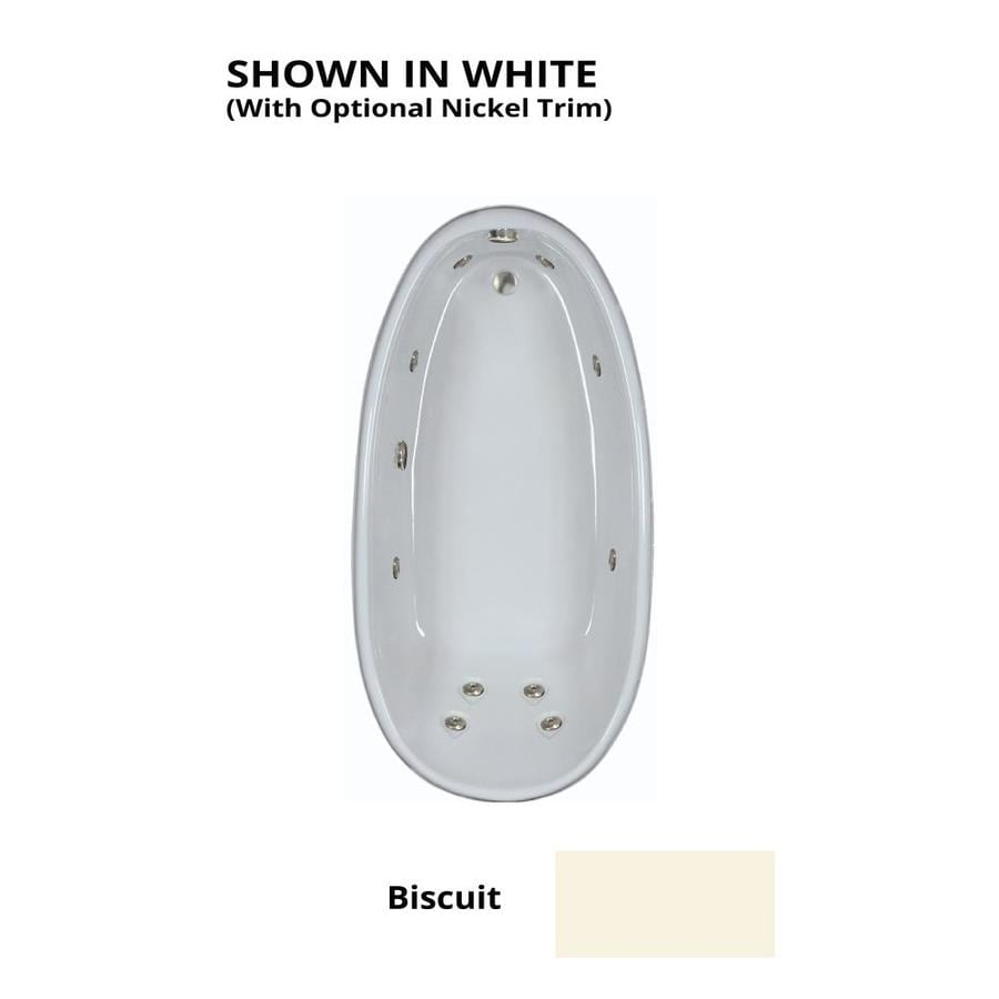 Watertech Whirlpool Baths Designer Biscuit Acrylic Oval Whirlpool Tub (Common: 36-in x 72-in; Actual: 22-in x 36-in x 72-in)