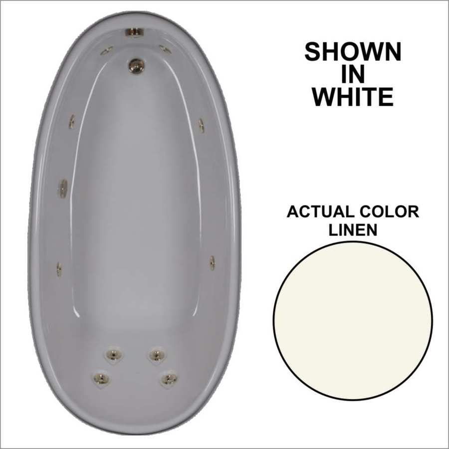 Watertech Whirlpool Baths Designer 72-in Linen Acrylic Drop-In Whirlpool Tub with Reversible Drain