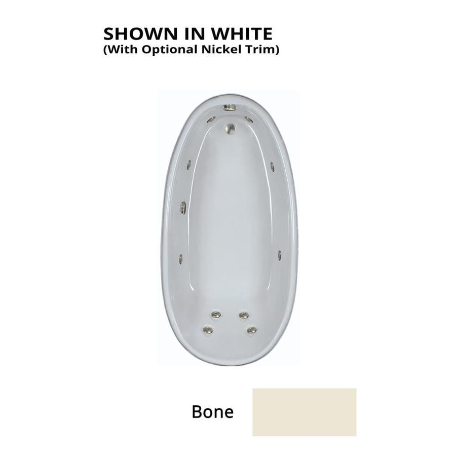 Watertech Whirlpool Baths Designer 72-in Bone Acrylic Drop-In Whirlpool Tub with Reversible Drain