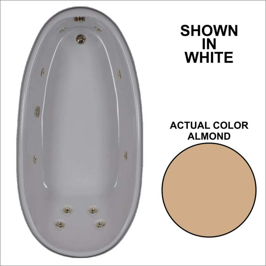 Watertech Whirlpool Baths Designer Almond Acrylic Oval Whirlpool Tub (Common: 36-in x 72-in; Actual: 22-in x 36-in x 72-in)