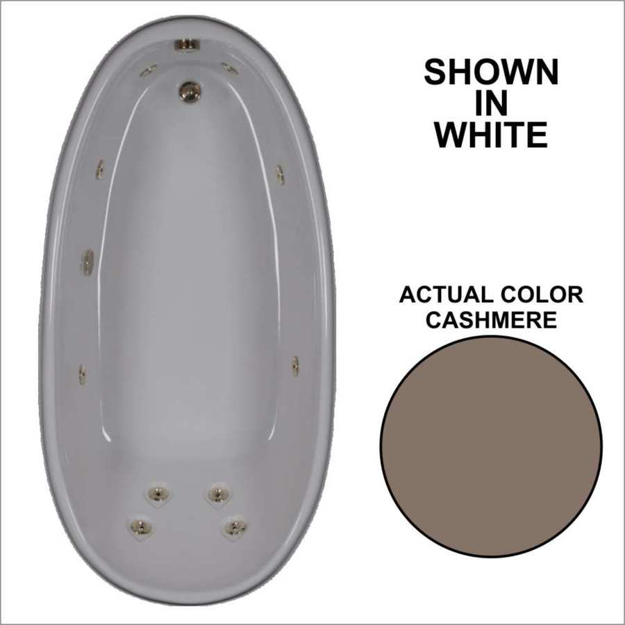Watertech Whirlpool Baths Designer 72-in Cashmere Acrylic Drop-In Whirlpool Tub with Reversible Drain