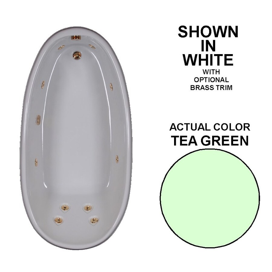 Watertech Whirlpool Baths Designer 72-in Tea Green Acrylic Drop-In Whirlpool Tub with Reversible Drain