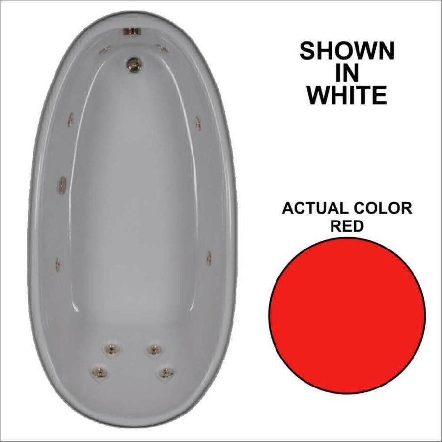 Watertech Whirlpool Baths Designer 72-in Red Acrylic Drop-In Whirlpool Tub with Reversible Drain