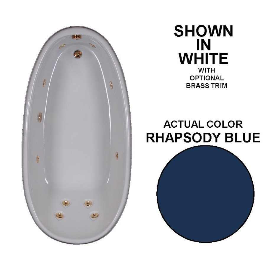 Watertech Whirlpool Baths Designer Rhapsody Blue Acrylic Oval Whirlpool Tub (Common: 36-in x 72-in; Actual: 22-in x 36-in x 72-in)