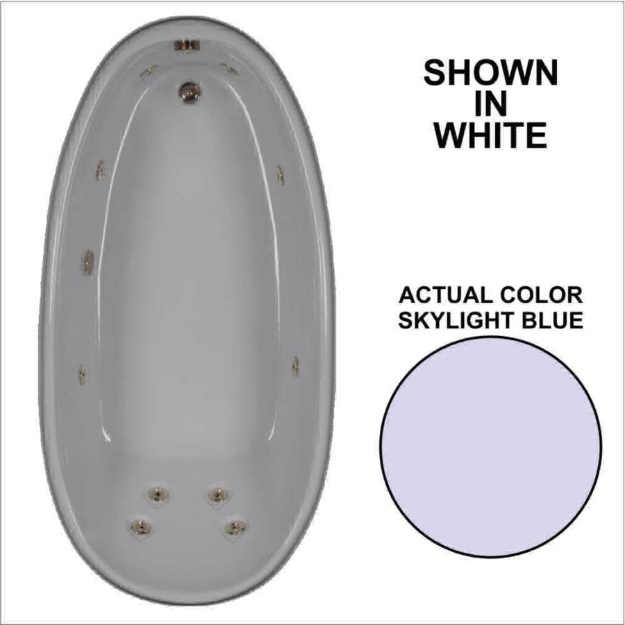 Watertech Whirlpool Baths Designer Skylight Blue Acrylic Oval Whirlpool Tub (Common: 36-in x 72-in; Actual: 22-in x 36-in x 72-in)