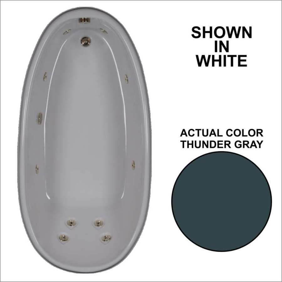 Watertech Whirlpool Baths Designer Thunder Grey Acrylic Oval Whirlpool Tub (Common: 36-in x 72-in; Actual: 22-in x 36-in x 72-in)