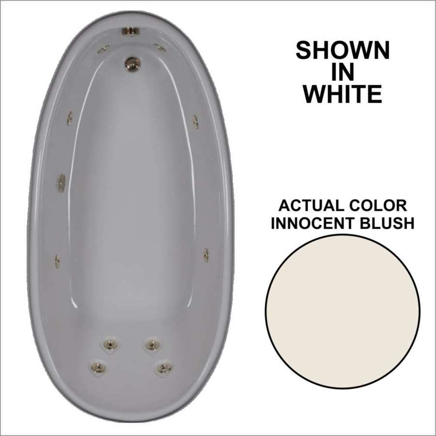 Watertech Whirlpool Baths Designer Innocent Blush Acrylic Oval Whirlpool Tub (Common: 36-in x 72-in; Actual: 22-in x 36-in x 72-in)