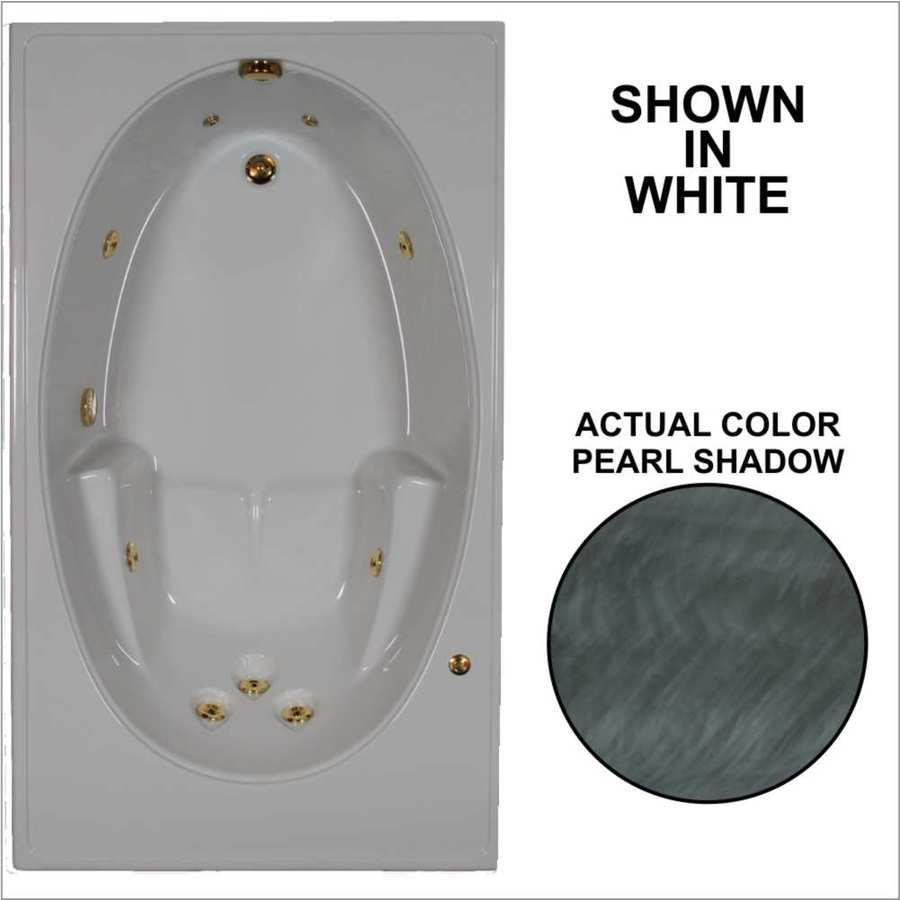 Watertech Whirlpool Baths Pearl Shadow Acrylic Oval In Rectangle Whirlpool Tub (Common: 42-in x 72-in; Actual: 19-in x 41.5-in x 59.75-in)