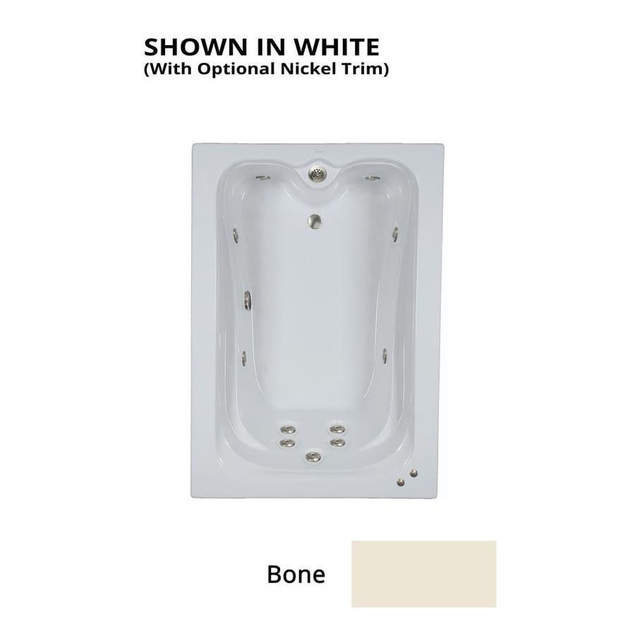 Watertech Whirlpool Baths Elite 59.75-in Bone Acrylic Drop-In Whirlpool Tub with Reversible Drain